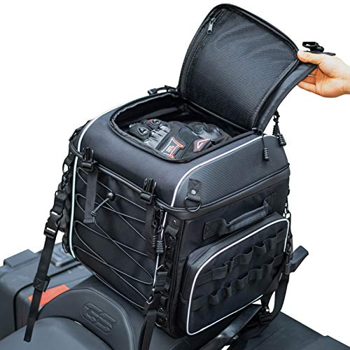 Motorcycle Travel Luggage, Motorcycle Tail Bag, Seat/Rack Bag for Softail Sportster Dyna Touring Models Road King Road Glide Street Glide, Waterproof, All Weather, with Sissy Bar Straps, Black