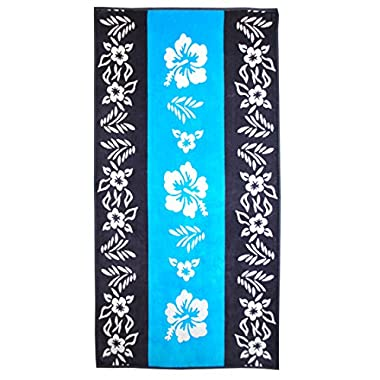 Superior Luxurious 100% Cotton Beach Towels, Oversized 34  x 64 , Soft Velour Cotton and Absorbent Cotton Terry, Thick and Plush Floral Beach Towels - Hibiscus