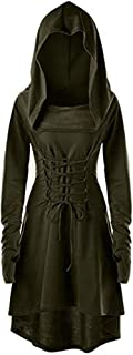 Womens Renaissance Costumes Hooded Robe Lace Up Halloween Medieval Cosplay Cloak Vintage High Low Pullover Dress Army Green