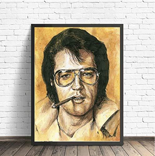 NVRENHUA Elvis Presley Porträt Wandkunst Leinwand Poster Druck Gemälde Wandbild für Büro Schlafzimmer Home Decoration 50X75Cm Rahmenlos