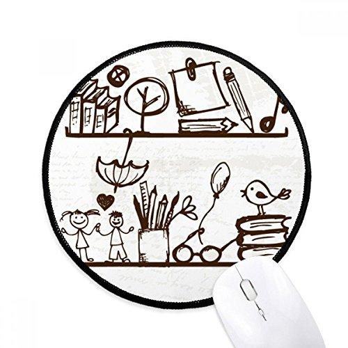 DIYthinker Kinderen Leuke Illustratie Boekenplank College Ronde Antislip Mousepads Zwart Titched Edges Game Kantoor Gift