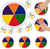 6 Pack 6 Colors Ink Pads- Stamp DIY Finger Color-Painting Craft Cardmaking DIY Ink Pad for Kids Montessori...