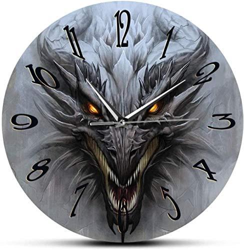Wjchao Reloj de Pared Dragón Arte de Pared Paisaje de fantasía Reloj de Pared Moderno mitología Monstruo Grifo Reloj silencioso Reloj de Pared Arte del hogar decoración de Interiores 30 x 30 cm
