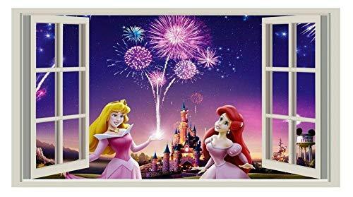 Pegatinas de pared-3D-Princesa, Etiqueta engomada, Niños, Calcomanía, Infantil, Dormitorio, Niña, Arte de la pared, Mura-50x70cm
