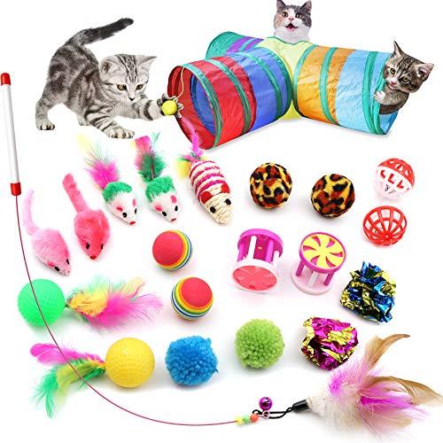 21 juguetes interactivos para gatos que incluyen ratón de sisal bola de peluche juguetes de campana golf con pluma varita teaser y túnel curvo