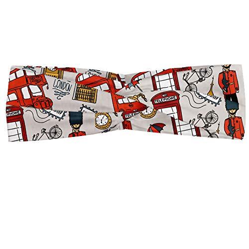 ABAKUHAUS Diadame Londres, Banda Elástica y Suave para Mujer para Deportes y Uso Diario Doodle Inglés Corona Londres Cabina Cabina de teléfono del reloj Big Ben paraguas de bicicletas, Multicolor