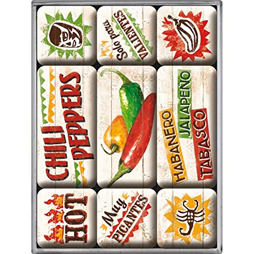Nostalgic-Art 83067 Home & Country - Chili Peppers, Magnet-Set (9teilig)