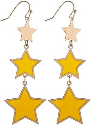 Tata Gisèle - Pendientes colgantes de metal dorado con estrellas amarillas
