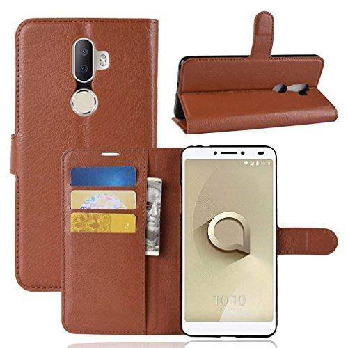 LMFULM® Hülle für Alcatel 3V 5099D (6 Zoll) PU Leder Magnet Brieftasche Lederhülle Litschi Muster Standfunktion Ledertasche Flip Cover für Alcatel 3V Braun