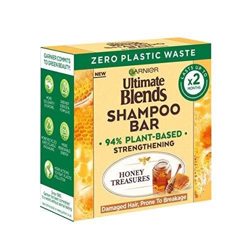 Garnier Ultimate Blends Honey Treasures Strengthening Shampoo Bar for Damaged Hair, 60 g