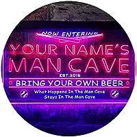Personalized Your Name Est Year Theme Baseball Man Cave Sport Bar Dual Color LED看板 ネオンプレート サイン 標識 青色 + 赤色 300 x 210mm st6s32-qb1-tm-br