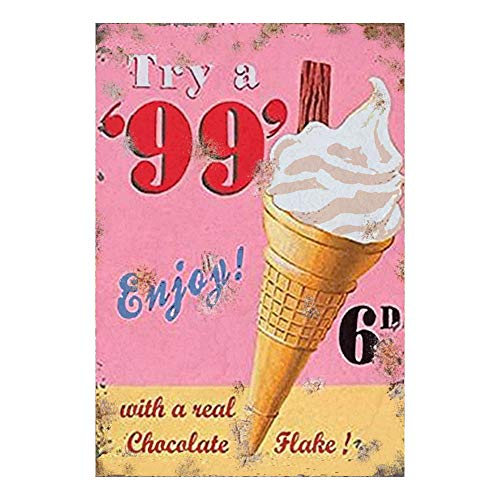 Etch-It-England 99 Ice Cream Vintage Classic Advert Kitchen Garden Garage Metal Wall Garage Sign Garden Shed Plaque Tin (A4 (200x285mm) Approx) (A4 (200x285mm) Approx)