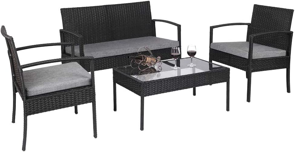 Wnvivi Courier shipping free 4 Pieces of Leisure Patio Poolside Sets Finally popular brand Furniture Garden