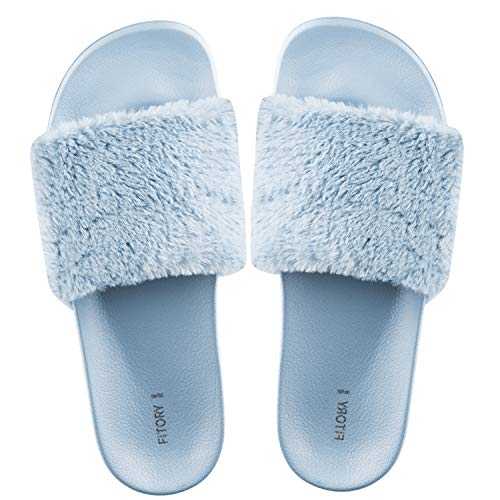 FITORY Damen Hausschuhe Plüsch Süße Weiche Indoor/Outdoor Pantoffeln mit Pelz rutschfeste,35-40 EU,Blau,35/36 EU