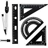 WANTOUTH Set de Geometría Juego de Geometría Escolar con Kit de Regla de Escala Triangular de Aluminio Juego de Compases Dibujo Tecnico con Minas de Lápiz Juego de Compas Profesional para Dibujar