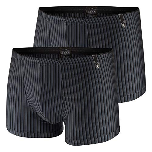 Götzburg Herren Microfaser Boxershorts, 2 Stück, atmungsaktiv, sehr weich, bequem, schwarz/grau gestreift (2, 6 / (L))
