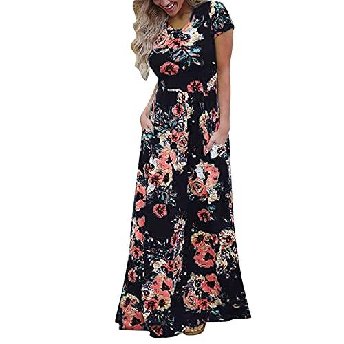 LRWEY Vestido casual para mujer, elegante, estampado floral, sin tirantes, maxi vestido boho, Negro a, S