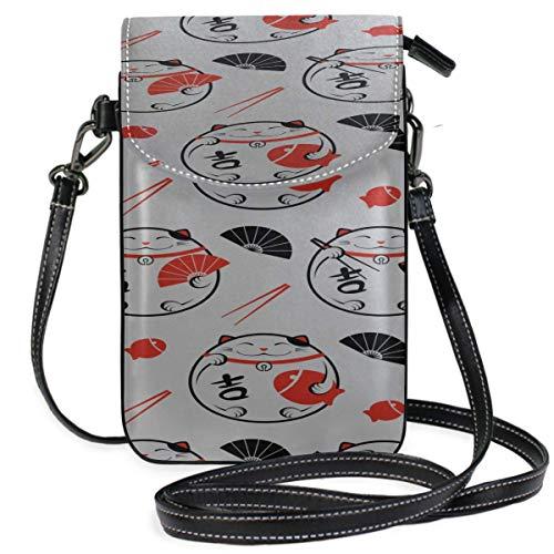 Lawenp Monedero de cuero para teléfono, utensilios de cocina creativos chinos, palillos, monedero cruzado con estampado, monedero pequeño, bolso bandolera, monedero, billetera, pasaporte de viaje, bo