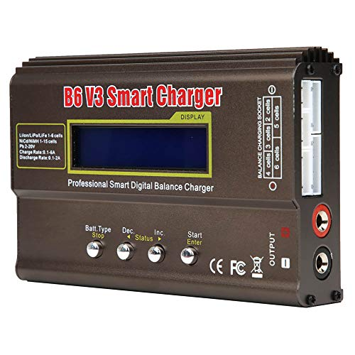 Cargador de Batería de Equilibrio, Cargador de Equilibrio Inteligente B6 V3 Adaptador de AC A CC/ DC11.0-18.0 V, Cargadores de Batería RC con Pantalla LCD