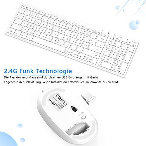 Jelly Comb Funktastatur mit Maus Set, 2.4G Kabellose Ultraslim Mini Tastatur und USB Maus Wiederaufladbar für PC, Laptop, Smart TV usw, QWERTZ Deutsches Layout, Weiß
