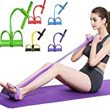 Leg Exerciser Elastic Training, Foot Pedal Resistance Band, 4-Tube Pull Rope Sit-up Training Bodybuilding Expander, Stretch Trainer Home Fitness Equipment (Random Color(Purple/Rose/Blue/Green/Yellow))