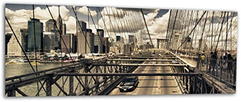 KD Dsign+ XXL Glasbild AG312500412 MURAL NYC BROOKLYN BRIDGE 125 x 50 cm WANDBILD Deco Glass Handmade