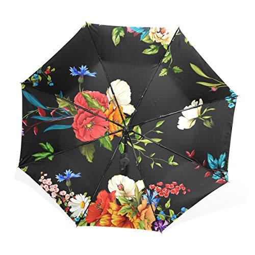 Regenschirm Blumen Mohn Wildrosen Kamille Lilienblätter 3 Falten Leichte Anti-UV