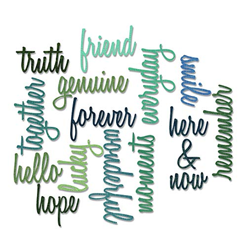 Sizzix Friendship Words Script by Tim Holtz Thinlits - Plantilla de Troquelado(16 Unidades), diseño de Palabras