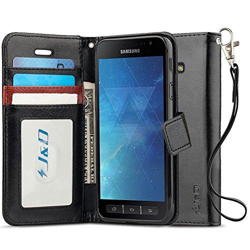 JundD Kompatibel für Galaxy Xcover 4 Leder Hülle, [Handytasche mit Standfuß] [Slim Fit] Robust Stoßfest PU Leder Flip Handyhülle Tasche Hülle für Samsung Galaxy Xcover 4 Hülle - Schwarz
