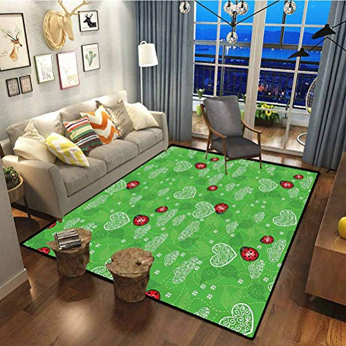 Ladybugs Decorations Collection Polyester Pattern Decorative Rug Home Room Decor Rugs Hearts Ladybug and Leaves Natural Environment Ornament Ladybug Leaf Swirl Image Green Red 6 x 2 ft