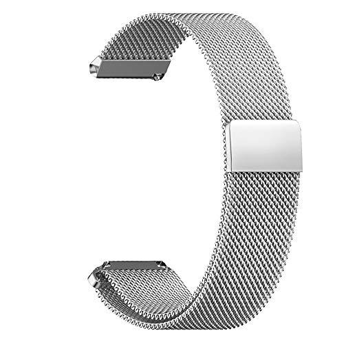 RanGuo Uhrenarmband, Breite 16mm / 18mm / 20mm / 22mm / 24mm, Edelstahl Metall Magnetisches Ersatzarmbänder mit Magnetverschluss für Smartwatch und Klassische Armbanduhren (18mm, Silber)