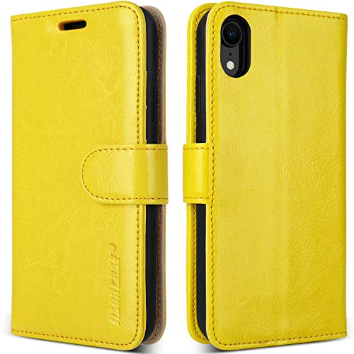 """JISONCASE Leather Wallet Case for iPhone XR, Flip Genuine Leather Cover with Kickstand, Cash Slot, Magnetic Closure and Wireless Charger for Apple iPhone XR, 6.1"""", Yellow"""