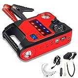 Gettop JX35 22000mAh Multifunción Arrancador de Coche | Carga Rápida USB Dual + Linterna LED + luz de Señal S.O.S. | 1200A Cargador de Batería de Automóvil Portátil (Rojo)
