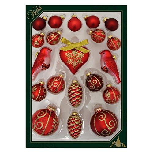Krebs Glas Lauscha - Multiset mit 20 Christbaumkugeln in mehreren Formen und Arten in Rot - Größe von 5 bis ca. 8 cm
