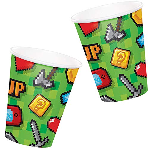 Neu: 8 Party-Becher * Game ON * für Kindergeburtstag und Motto-Party | LAN Gaming Zocker Zocken Spielen Konsole Pixel Mottoparty Kinder Geburtstag Pappbecher Partybecher