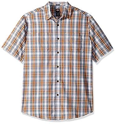 dickies Men's Short Sleeve Flex Plaid Shirt
