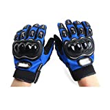 Probiker Leather Motorcycle Gloves (Blue, Large)