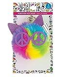 Fun Express Rainbow Cat Pom-Pom Keychain (4') Glitter Ears and Glasses. Key Chain.