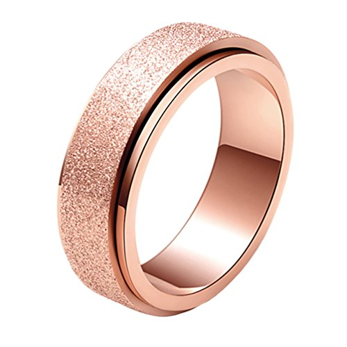 PAMTIER Womens Stainless Steel Spinner Ring Sand Blast Finish Wedding Band Rose Gold Size P 1/2
