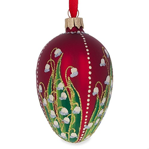 BestPysanky 1898 Lilies of The Valley Royal Egg Glass Ornament