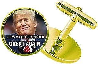 CaoGSH American Ridicule Trump président Image Boutons de Manchette cloutés en métal doré