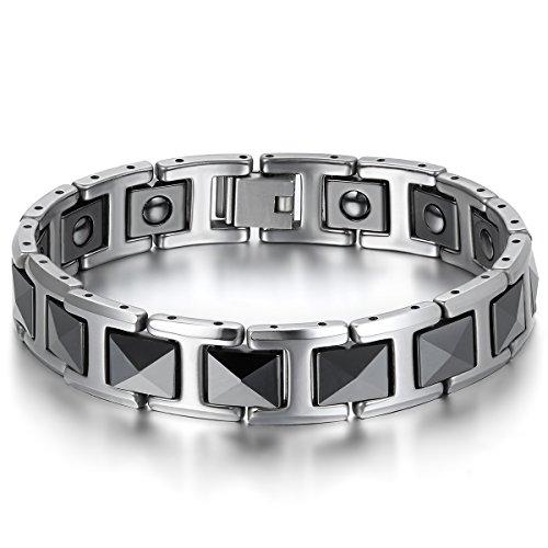 JewelryWe Schmuck Herren Magnet Armband, Wolfram Wolframcarbid Keramik, Klassiker I Rechteckig Link Elegant Gesundheit Magnetarmband Armreif, Schwarz Silber