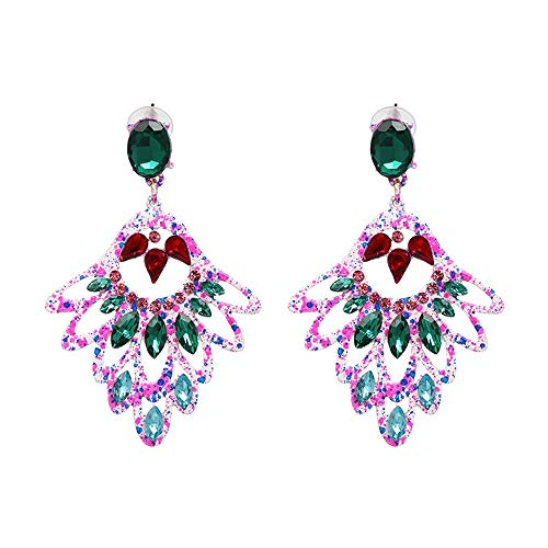 ZHJC Tassels Dangle Drop Earrings Luxury Bright Crystal Drop Tassel Dangle Earrings Exquisite Ear Accessories For Gifts And Everyday Wear Wedding, Date (Color : Pink, Size : Free size)