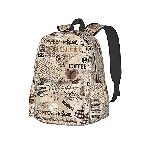 QQIAEJIA Zaino da 17 pollici Vintage Coffee Pattern con lettere Zaino per laptop Borsa a tracolla School Bookbag Casual Daypack