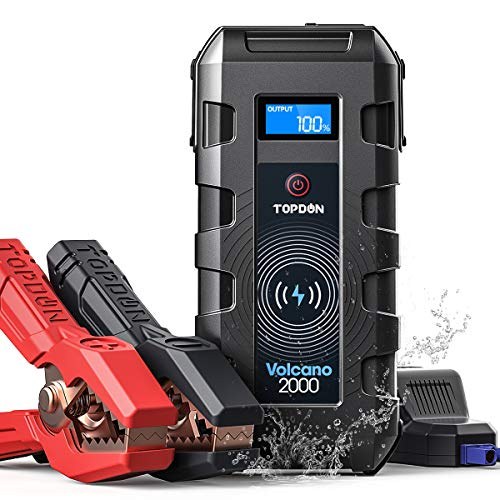 Car Jump Starter Battery Pack Portable, TOPDON VOLCANO2000 12V (Up to 10L Gas 8L Diesel) Auto Battery Booster Jumper 20800mAh Power Bank Wireless Charger Type C for Car Truck ATV SUV Boat-Peak 2000A
