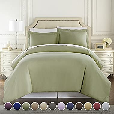 HC COLLECTION Hotel Luxury 3pc Duvet Cover Set-1500 Thread Count Egyptian Quality Ultra Silky Soft Premium Bedding Collection-Queen Size Sage