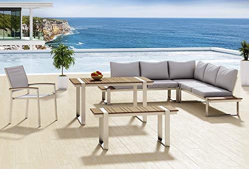 AISER Royal Garten Lounge Set -Sansibar- luxuriöse Sitzgruppe mit Esstisch, Bank und Stuhl aus hochwertigem Misanbar Kunstholz Gartenmöbel Set