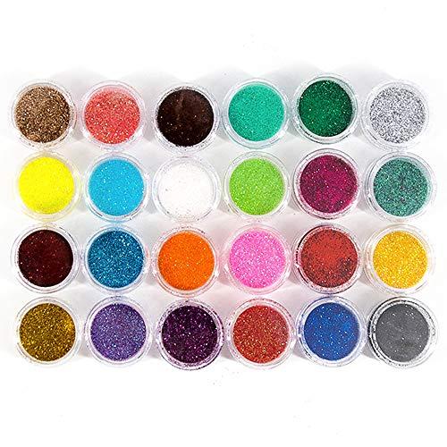 LifreerJuego de purpurina fina de 24 colores, multiusos, manualidades, suministros corporales, purpurina, polvo de purpurina cosmética para manualidades, fabricación de tarjetas, reserva de chatarra