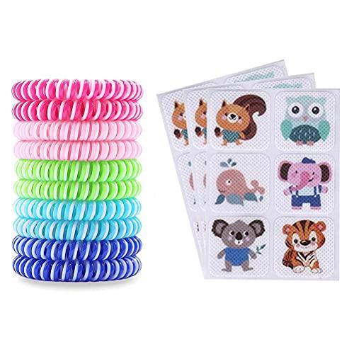 Muggenwerende Armband, Met 18 Stuks Cartoon Dieren Anti-Muggen Stickers, Muggenwerende Armbanden Voor Bescherming Voor Kinderen En Volwassenen