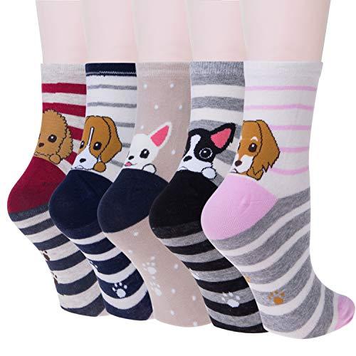 Justay Pack de 5 Calcetines Mujer Divertidos Originales Animales Lindos Estampados Ocasionales de Algodón para Niña y Mujer